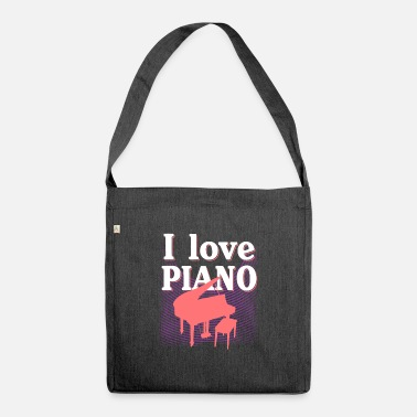 I Love Music i love piano music - piano music shirt - Shoulder Bag recycled