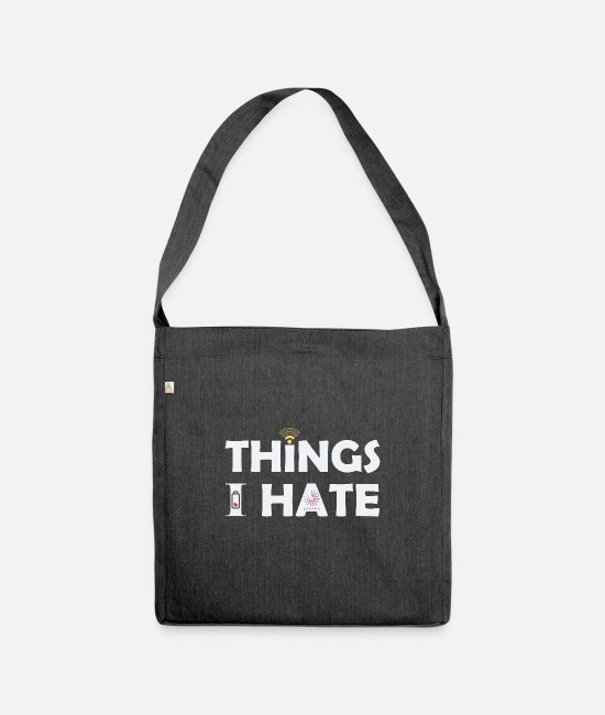 Laptop Bags & Backpacks - Things i hate internet charging battery - Shoulder Bag recycled heather black