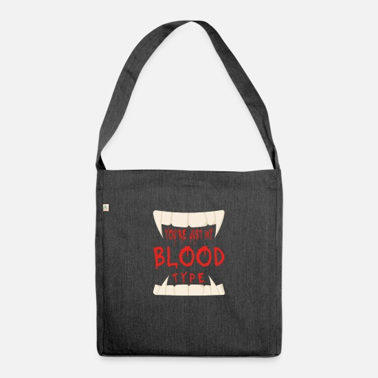 Cosplay Bags & Backpacks - You have my blood group Vampire Halloween - Shoulder Bag recycled heather black