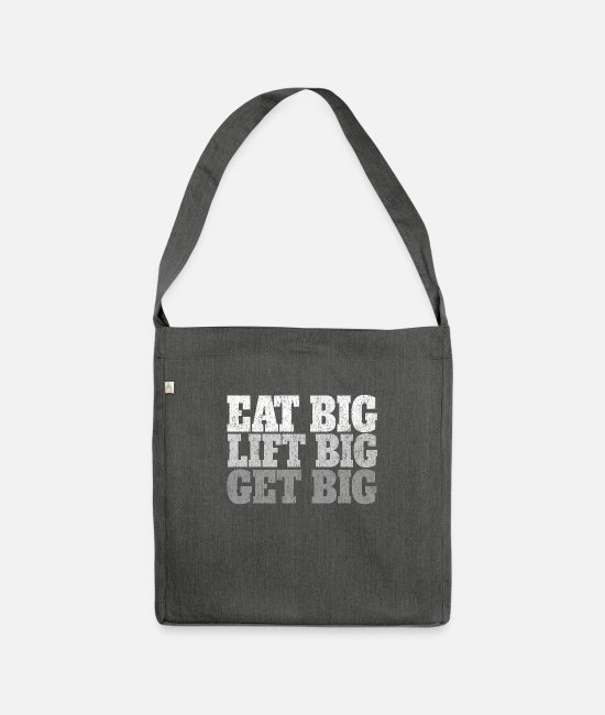 Soccer Bags & Backpacks - Eat Big Lift Big Get Big Bodybuilding - Shoulder Bag recycled dark grey heather