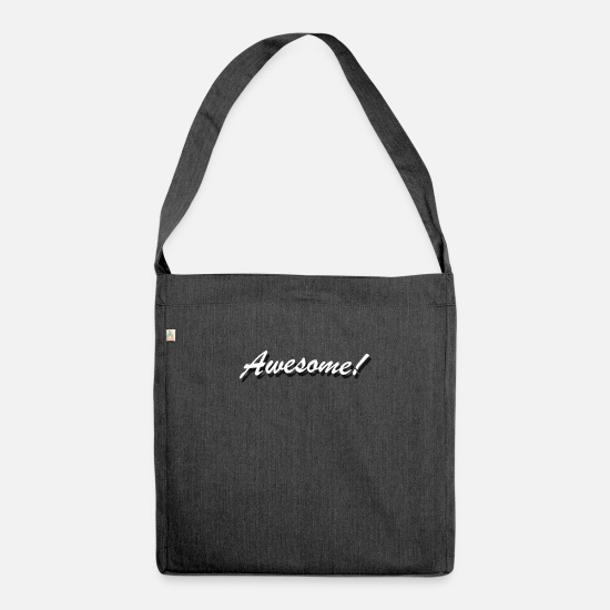 Birthday Bags & Backpacks - Awesome - Shoulder Bag recycled heather black