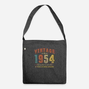 February Gift for 66th birthday vintage 1954 66 years - Shoulder Bag recycled