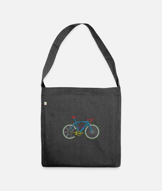 Cycling Bags & Backpacks - Bicycle anatomy for bike and cycling lovers - Shoulder Bag recycled heather black