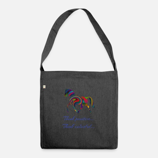 Birthday Bags & Backpacks - Think positive Think Colorful - Shoulder Bag recycled heather black