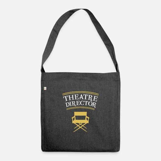 Actor Bags & Backpacks - Funny theater director mask actor shirt - Shoulder Bag recycled heather black
