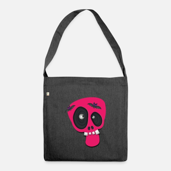 Birthday Bags & Backpacks - Funny skull halloween kids clothes - Shoulder Bag recycled heather black