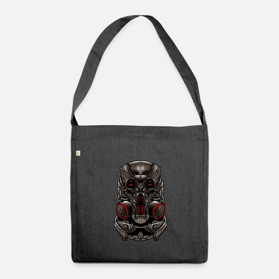 Idea Bags & Backpacks - Cyborg Mask Robotic Robot Android Cybernetic Gift - Shoulder Bag recycled heather black
