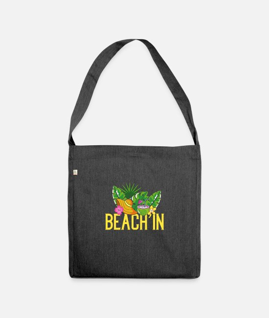 Sunglasses Bags & Backpacks - Beach sun palms holiday - Shoulder Bag recycled heather black