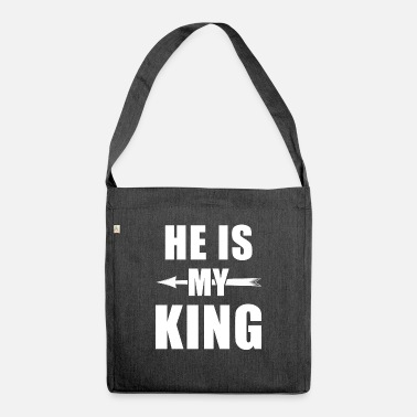 Paare He is my King - Kingqueen shirt,King and Queen - Umhängetasche aus Recyclingmaterial