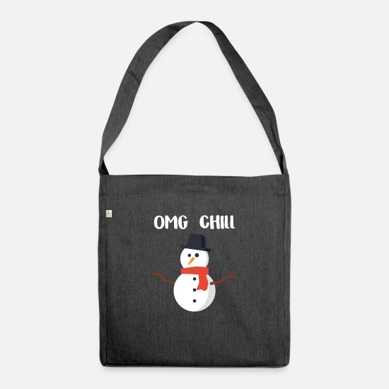 Christmas Bags & Backpacks - OMG Chill gift for Chill People - Shoulder Bag recycled heather black