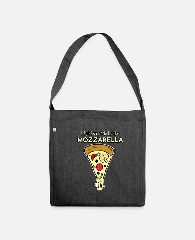 Pizza Bags & Backpacks - Pizza Pizza Pizza - Shoulder Bag recycled heather black