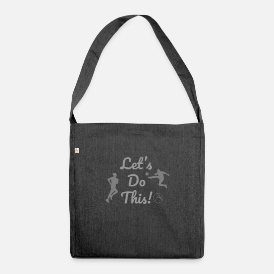 Work Out Bags & Backpacks - Let's Do This! By Activ - Shoulder Bag recycled heather black