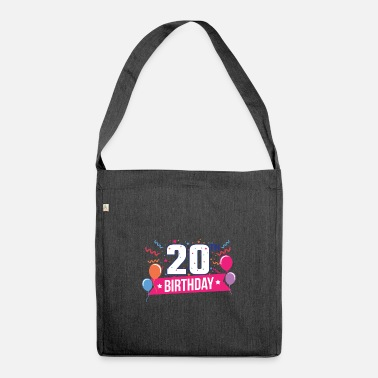 Birthday Party 20th Birthday Party Balloons Banner Gift Idea - Shoulder Bag recycled