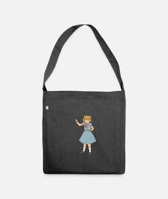 Horror Bags & Backpacks - Whip Girl - Clementine - Punk Goth Horror Fan - Shoulder Bag recycled heather black