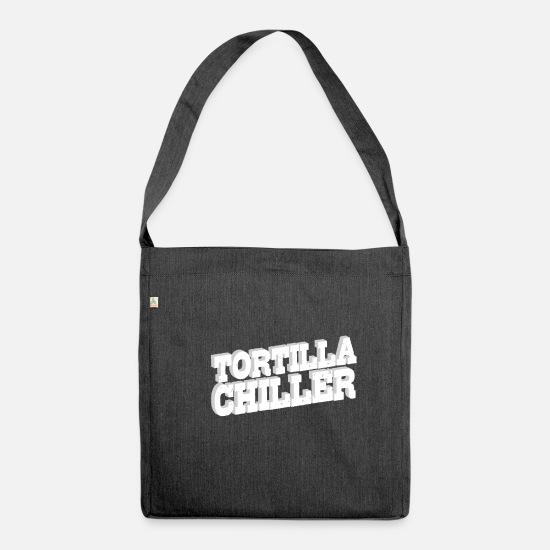 Gift Idea Bags & Backpacks - Tortilla Chiller | Burrito taco food mexican - Shoulder Bag recycled heather black