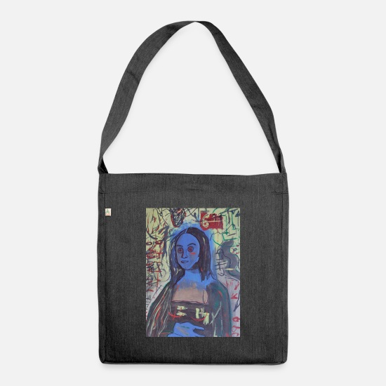 Art Bags & Backpacks - Gioconda Basquiat tribute - Shoulder Bag recycled heather black