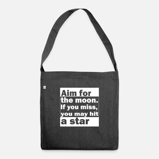 Strong Bags & Backpacks - Aim for the stars - Shoulder Bag recycled heather black