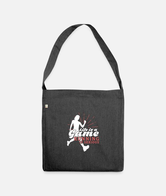 Competition Bags & Backpacks - Run runner sayings wisdom training trainer - Shoulder Bag recycled heather black