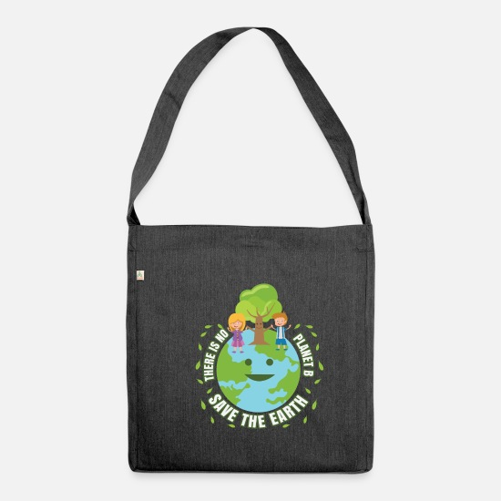 Enviromental Bags & Backpacks - There Is No Planet B Save The Earth Day Gift - Shoulder Bag recycled heather black