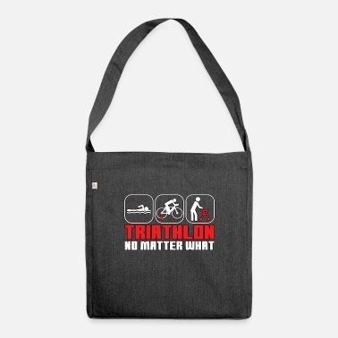 Triathlon funny swim bike run saying - Shoulder Bag recycled