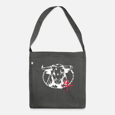 Japanese art with bull and writing gift - Shoulder Bag recycled