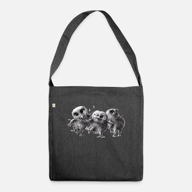 three crazy owls - Shoulder Bag recycled
