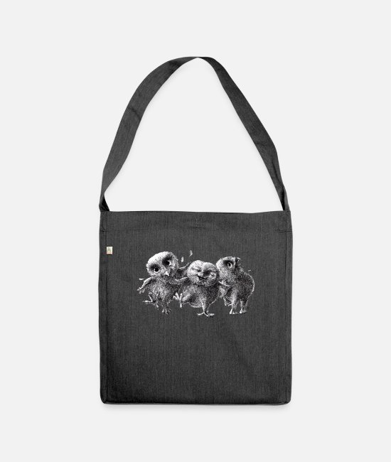 Friendship Bags & Backpacks - three crazy owls - Shoulder Bag recycled heather black