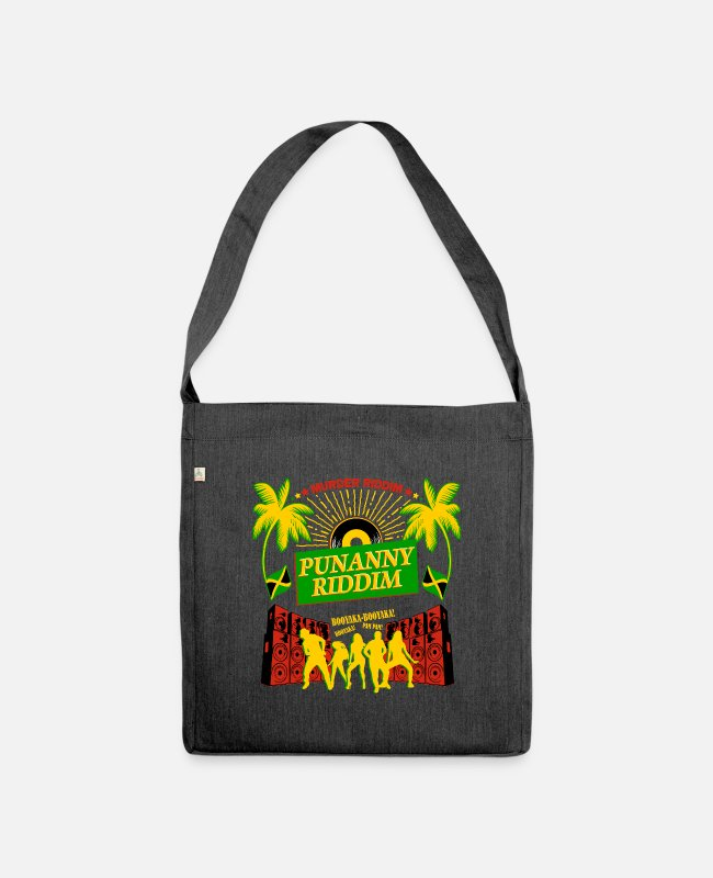 Rasta Bags & Backpacks - Punanny Jamaican Classic Dancehall Riddim Shirt - Shoulder Bag recycled heather black