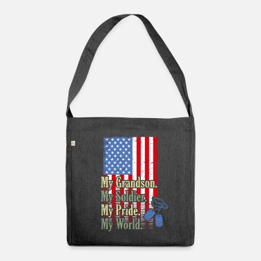 Navy My GrandSon My Soldier Hero Proud Army Grandma Mil - Sac bandoulière recyclé
