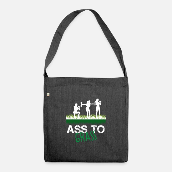 Gym Wear Bags & Backpacks - ass to grass - Shoulder Bag recycled heather black