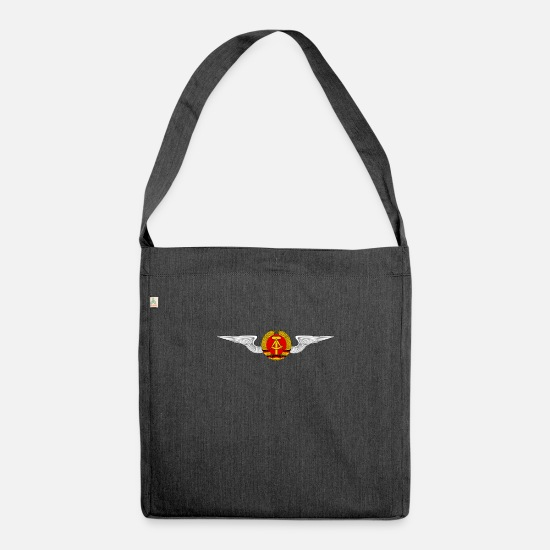 Federal Republic Of Germany Bags & Backpacks - DDR Logo Coat of Arms Ossi Gift - Shoulder Bag recycled heather black