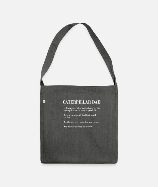 Earthworm Bags & Backpacks - Caterpillar Dad Description FUNNY CATERPILLAR SHIR - Shoulder Bag recycled dark grey heather