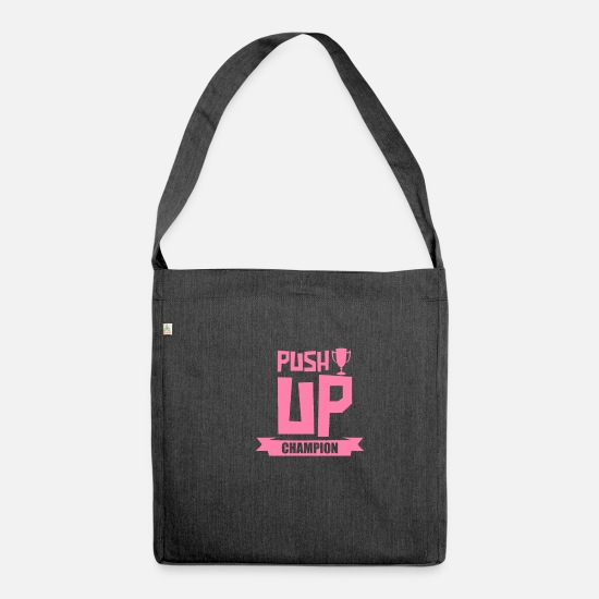 Gift Idea Bags & Backpacks - Endurance push ups push up sport push ups - Shoulder Bag recycled heather black