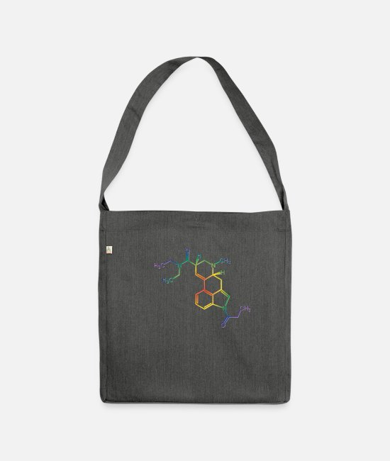 Saying Bags & Backpacks - Druff Party LSD Acid structural formula molecule outfit - Shoulder Bag recycled dark grey heather