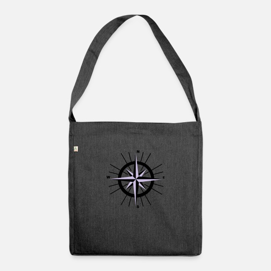 Nautical Bags & Backpacks - Nautical Compass - Shoulder Bag recycled heather black