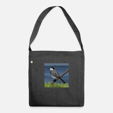 Painted Bird Painted wagtail bird design illustration - Shoulder Bag recycled