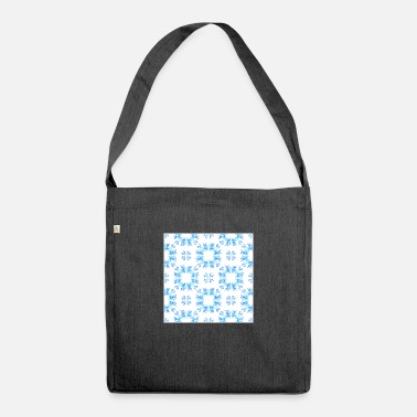 Blue White Winter Neck Gator White and Blue Winter - Shoulder Bag recycled