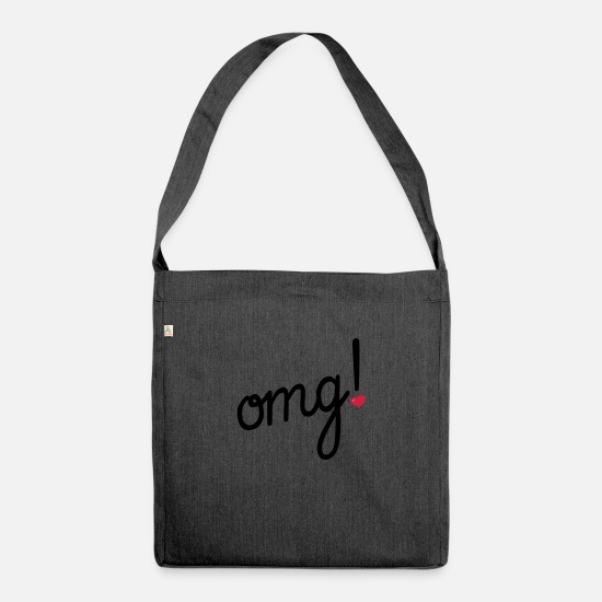 Humour Bags & Backpacks - omg Heart - Shoulder Bag recycled heather black