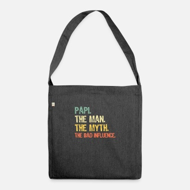 Papi The Man The Myth The Bad Influence Retro Gift - Shoulder Bag recycled