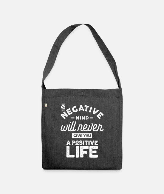 Quote Bags & Backpacks - Motivational - A Positive Life - Shoulder Bag recycled heather black