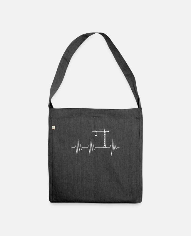 Building Site Bags & Backpacks - Harzschlag crane crane operator - Shoulder Bag recycled heather black
