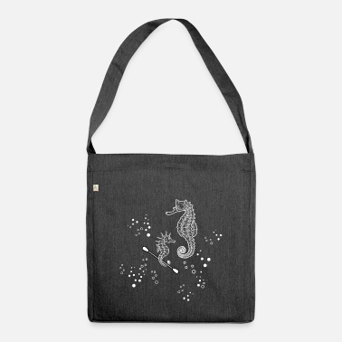 Seahorse & Cotton Swab (White line) - Shoulder Bag recycled