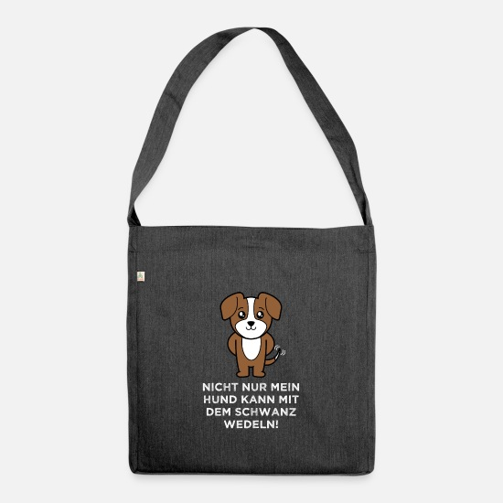 Gift Idea Bags & Backpacks - Dog pet tail wagging - Shoulder Bag recycled heather black