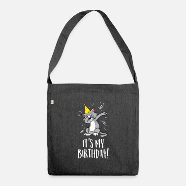 Party It's my birthday - Birthday and party cat - Shoulder Bag recycled