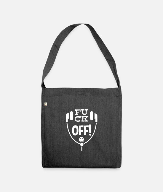 Pause Bags & Backpacks - Fuck off! Leibl Designs - white - Shoulder Bag recycled heather black
