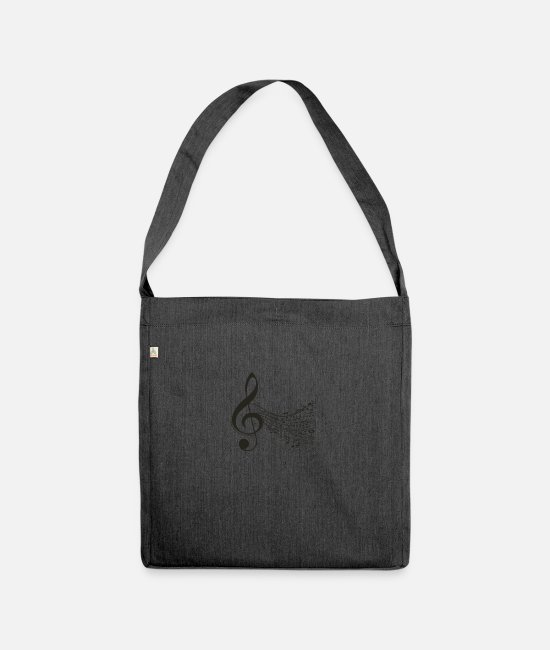 Music Bags & Backpacks - Music Symphony acord notes - Shoulder Bag recycled heather black