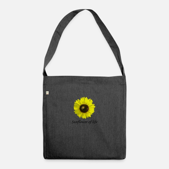 "Honey Bee Bags & Backpacks - Sunflower of life ""Sunflower of life"" - Shoulder Bag recycled heather black"