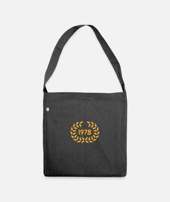 Laurel Wreath Bags & Backpacks - Birthday 1978 - Shoulder Bag recycled heather black