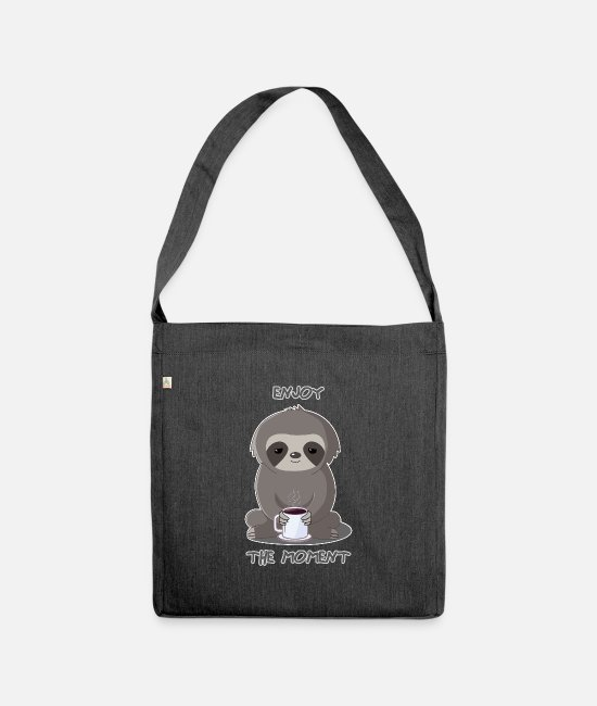 Office Bags & Backpacks - Sloth beautiful design at the moment Enjoy - Shoulder Bag recycled heather black