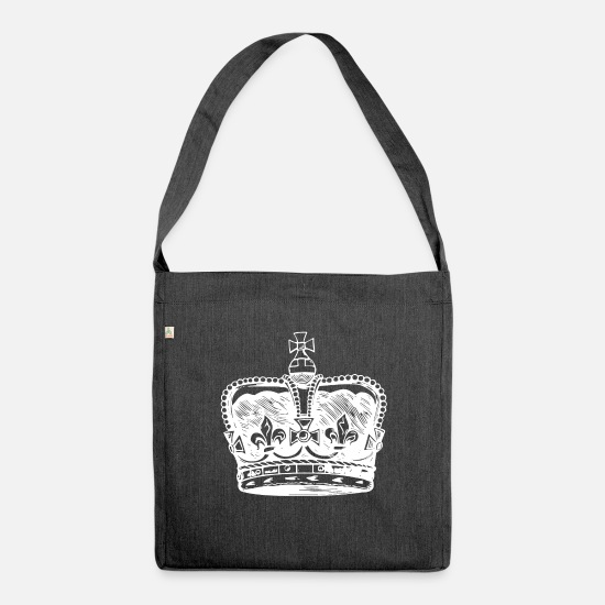 Crown Bags & Backpacks - Crown King Queen Queen King Royal - Shoulder Bag recycled heather black
